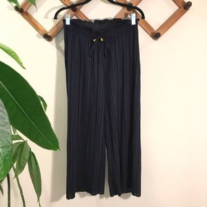Pants - NWT Cropped pleated palazzo pants navy blue sz L
